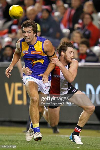 Jack Steven of the Saints tackles Andrew Gaff of the Eagles during the round eight AFL match between the St Kilda Saints and the West Coast Eagles at...