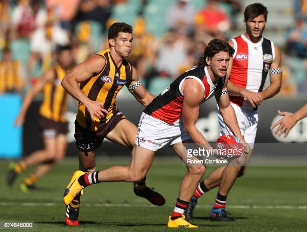 Jack Steven of the Saints takes the ball during the round six AFL match between the Hawthorn Hawks and the St Kilda Saints at University of Tasmania...