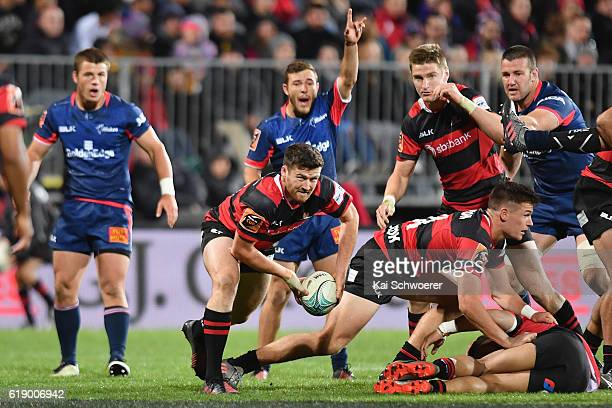 Jack Stratton of Canterbury looks to pass the ball during the Mitre 10 Cup Premiership Final match between Canterbury and Tasman at AMI Stadium on...