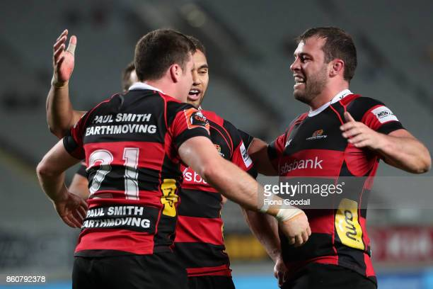 Jack Stratton of Canterbury scores a try during the round nine Mitre 10 Cup match between Auckland and Canterbury at Eden Park on October 13 2017 in...