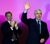 Jack Straw Britain's Foreign Secretary is applauded by Britain's Prime Minister Tony Blair during the fifth and final day of the Labour Party Annual...