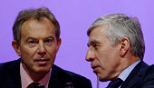 Jack Straw Britain's Foreign Secretary is seen next to Britain's Prime Minister Tony Blair during the fifth and final day of the Labour Party Annual...