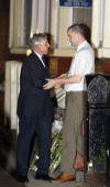 Jack Straw Foreign Secretary is seen out by Craig Bigley after visiting the home of Kenneth Bigley's mother following the announcement that her son...