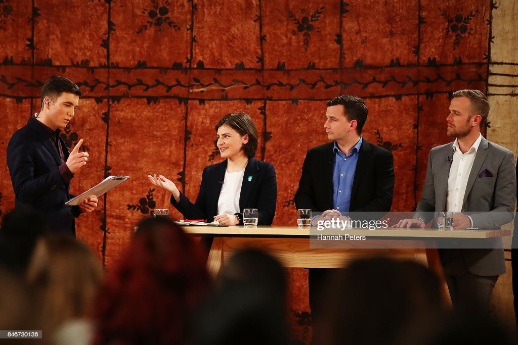 Jack Tame asks Chloe Swarbrick of the Green Party questions during the 1 NEWS Young Voters Debate at Auckland University on September 14, 2017 in Auckland, New Zealand.