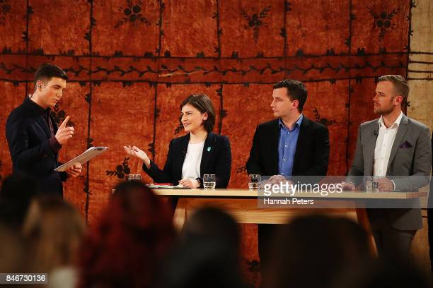 Jack Tame asks Chloe Swarbrick of the Green Party questions during the 1 NEWS Young Voters Debate at Auckland University on September 14 2017 in...