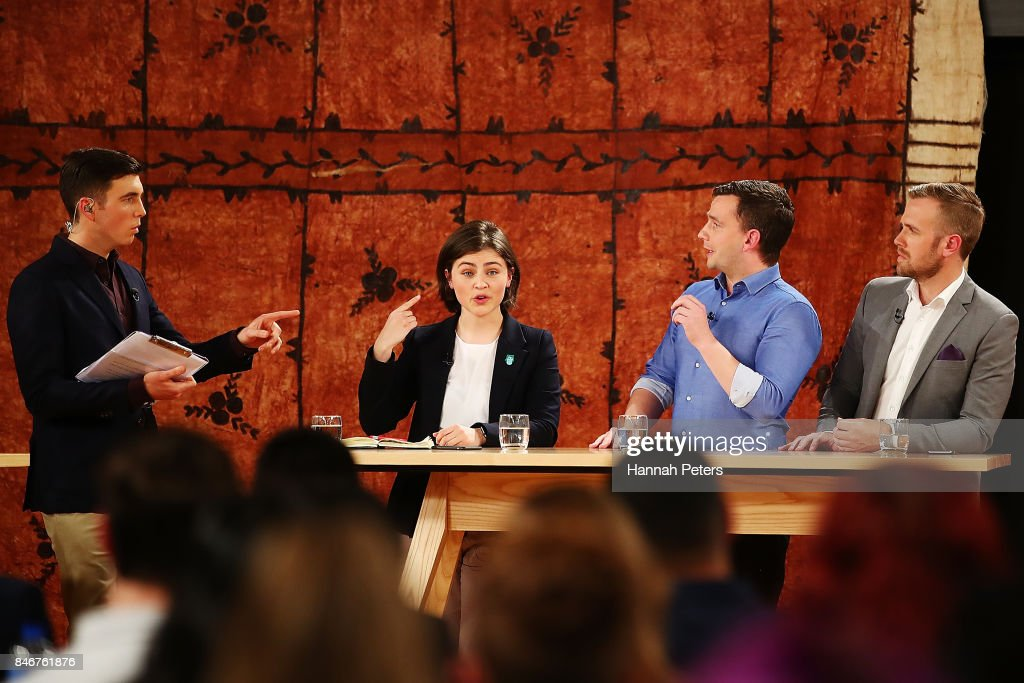 Jack Tame asks questions of Chloe Swarbrick of the Green Party, David Seymour of the Act Party and Damian Light of the United Future Party during the 1 NEWS Young Voters Debate at Auckland University on September 14, 2017 in Auckland, New Zealand.