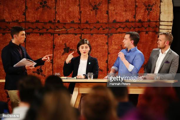 Jack Tame asks questions of Chloe Swarbrick of the Green Party David Seymour of the Act Party and Damian Light of the United Future Party during the...