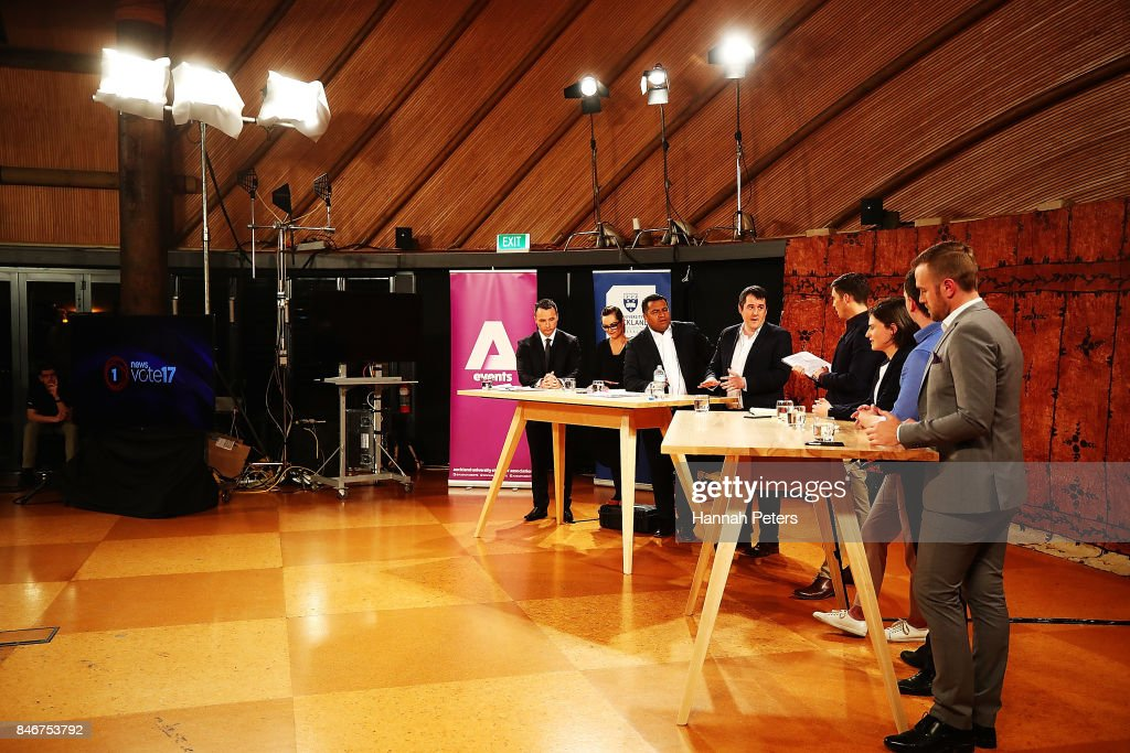 Jack Tame leads the debate during the 1 NEWS Young Voters Debate at Auckland University on September 14, 2017 in Auckland, New Zealand.