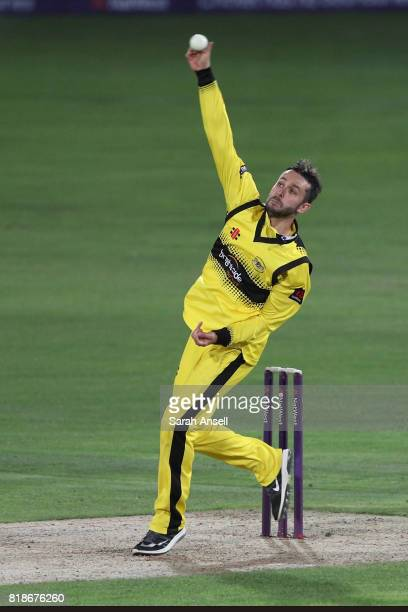 Jack Taylor of Gloucestershire bowls during the NatWest T20 Blast South Group match at The Spitfire Ground on July 18 2017 in Canterbury England