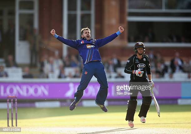 Jack Taylor of Gloucestershire celebrates taking the wicket of Tom Curran of Surrey during the Royal London One Day Cup Final between Gloucestershire...