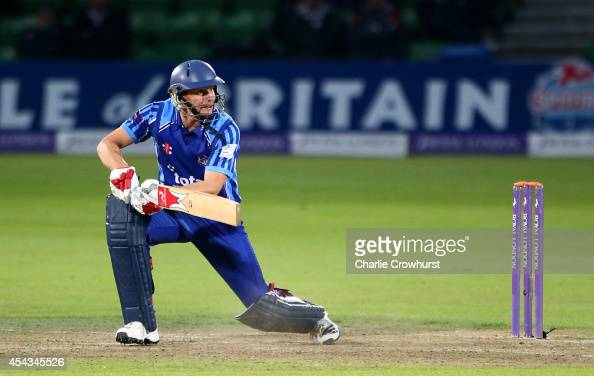 Jack Taylor of Gloucestershire hits out during the Royal London OneDay Cup Quarter Final match between Kent Spitfires and Gloucestershire at The...