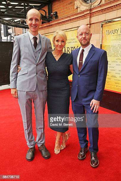 Jack Thorne JK Rowling and John Tiffany attend the press preview of 'Harry Potter The Cursed Child' at The Palace Theatre on July 30 2016 in London...