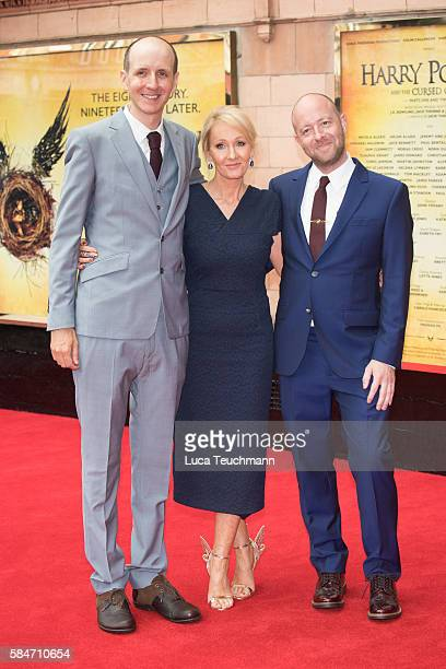 Jack Thorne JK Rowling and John Tiffany attend the press preview of 'Harry Potter The Cursed Child' at Palace Theatre on July 30 2016 in London...