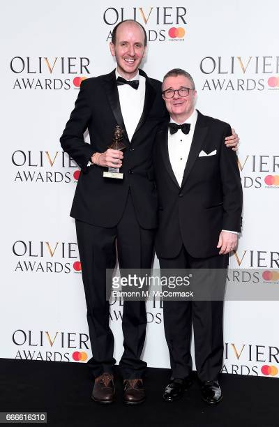 Jack Thorne with the award for Best New Play for Harry Potter And The Cursed Child at Palace Theatre presented by Nathan Lane in the winners room at...