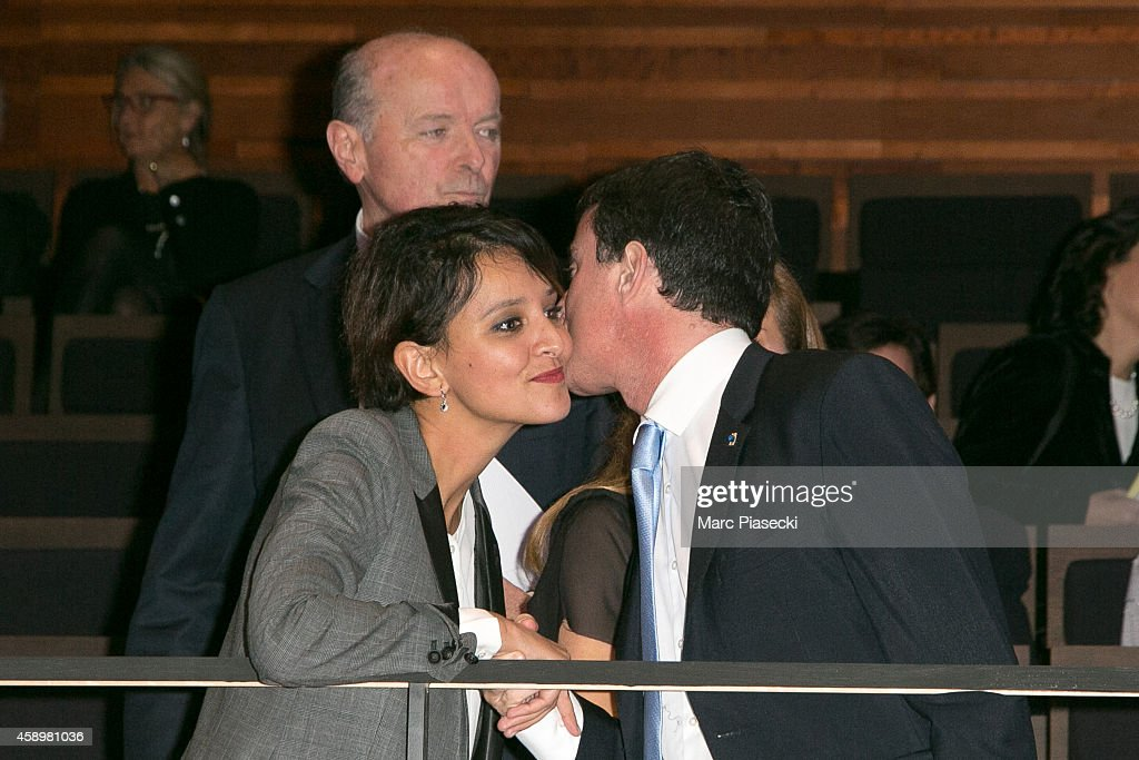 Jack Toubon, French Minister of National Education <a gi-track='captionPersonalityLinkClicked' href=/galleries/search?phrase=Najat+Vallaud-Belkacem&family=editorial&specificpeople=4115928 ng-click='$event.stopPropagation()'>Najat Vallaud-Belkacem</a> and French Prime Minister <a gi-track='captionPersonalityLinkClicked' href=/galleries/search?phrase=Manuel+Valls&family=editorial&specificpeople=2178864 ng-click='$event.stopPropagation()'>Manuel Valls</a> attend the 'Maison de la Radio' Re-Opening night on November 14, 2014 in Paris, France.