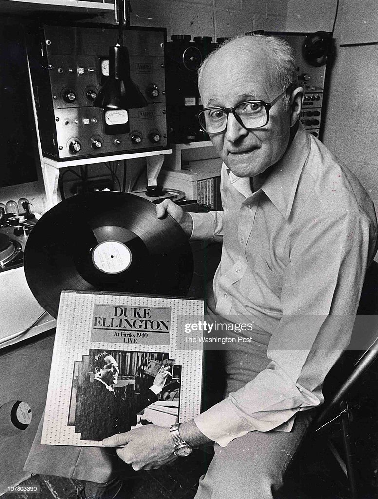 Jack Towers with an old Duke Ellington album which he remastered off a 1940 acetate disk in Hyattsville Maryland on February 28 1980 This disk he and...
