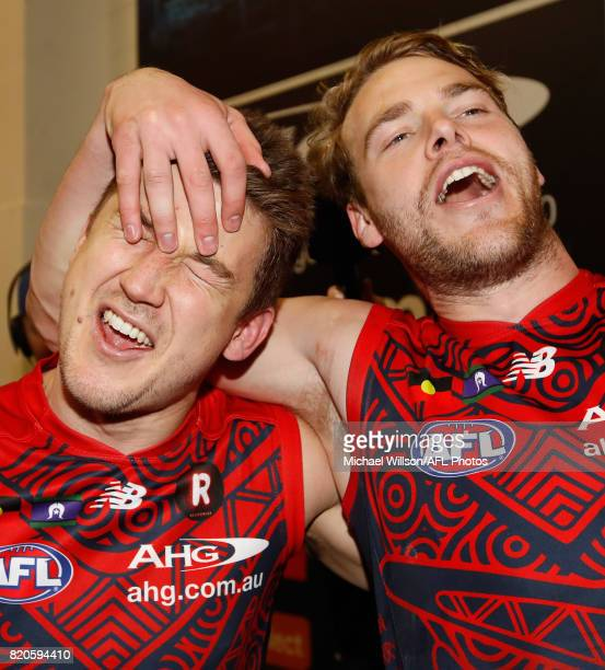 Jack Trengove and Jack Watts of the Demons celebrate during the 2017 AFL round 18 match between the Melbourne Demons and the Port Adelaide Power at...