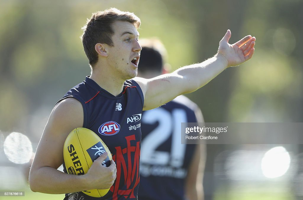 Jack Trengove of the Demons gestures during a Melbourne Demons AFL training session at Goschs Paddock on May 4, 2016 in Melbourne, Australia.