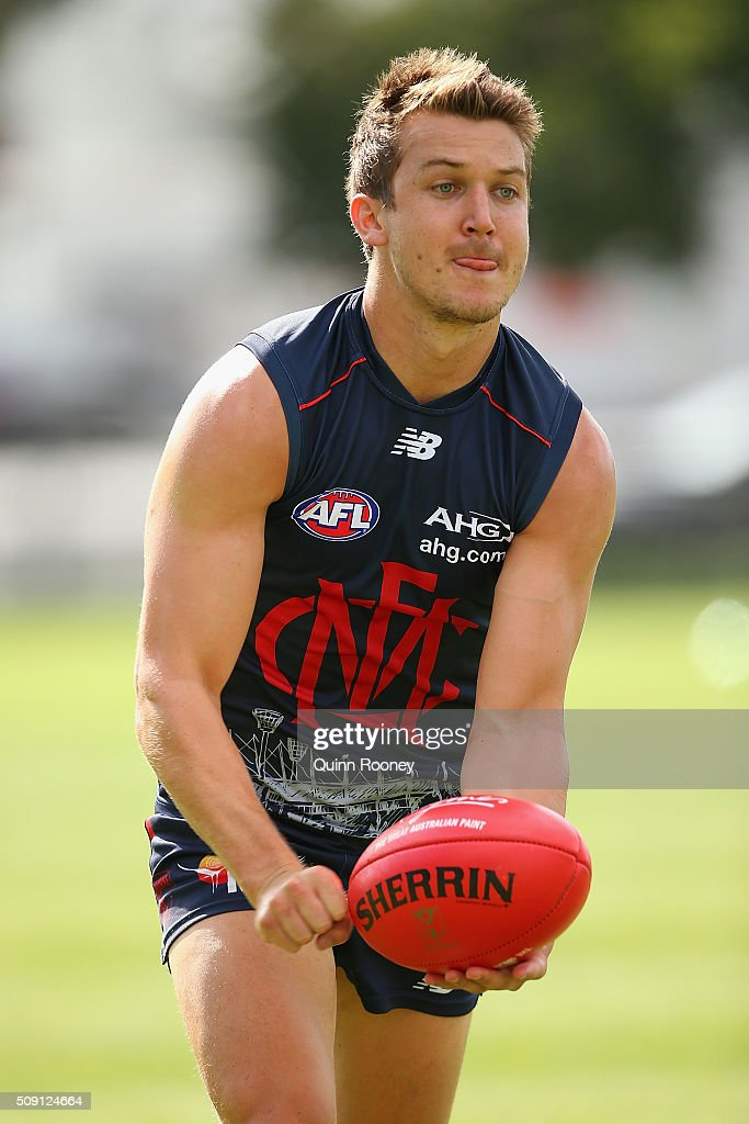 Jack Trengove of the Demons handballs during a Melbourne Demons AFL pre-season training session at Gosch's Paddock on February 9, 2016 in Melbourne, Australia.