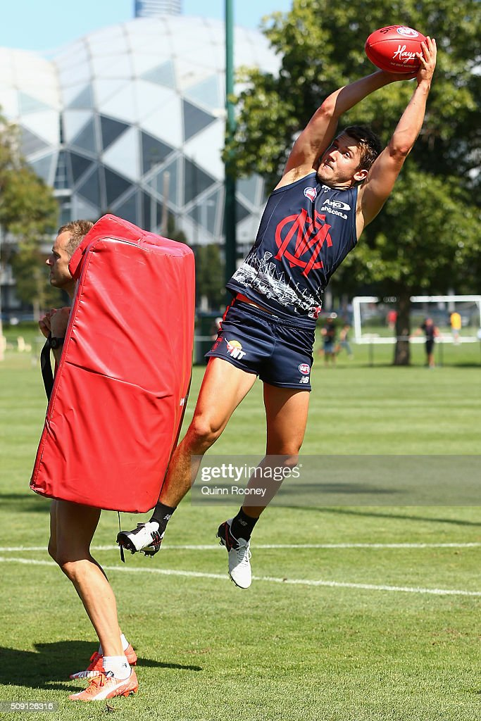 Jack Trengove of the Demons marks during a Melbourne Demons AFL pre-season training session at Gosch's Paddock on February 9, 2016 in Melbourne, Australia.
