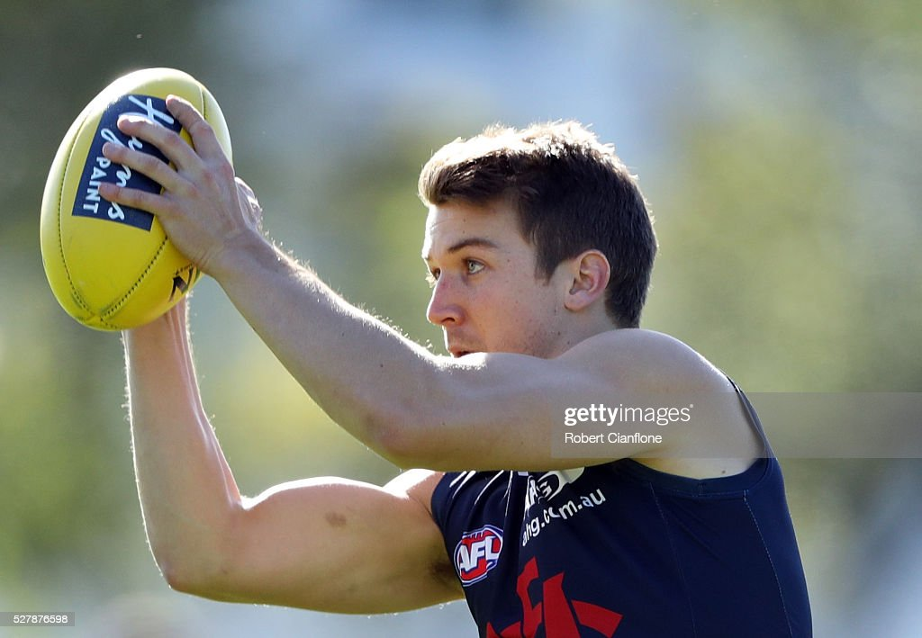 Jack Trengove of the Demons takes the ball during a Melbourne Demons AFL training session at Goschs Paddock on May 4, 2016 in Melbourne, Australia.