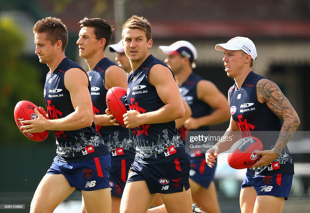 Jack Trengove of the Demons trains with the main group during a Melbourne Demons AFL pre-season training session at Gosch's Paddock on February 9, 2016 in Melbourne, Australia.