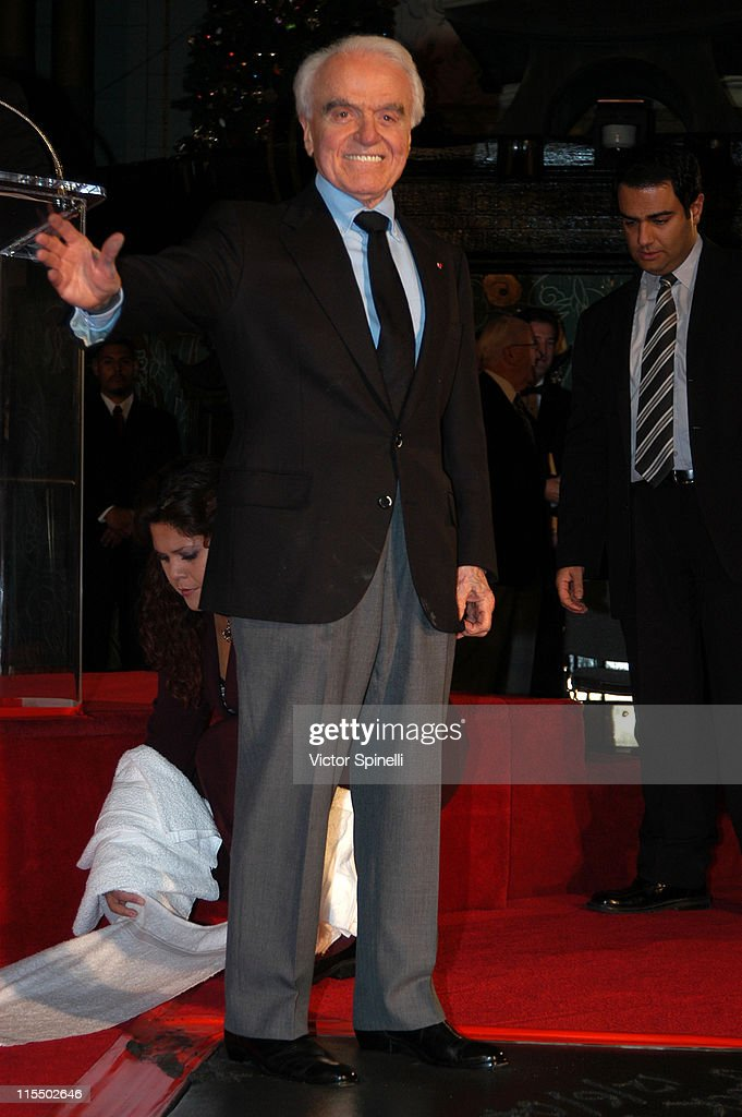 Jack Valenti during Jack Valenti Dedication with Hand and Footprints at Grauman's Chinese Theatre at Grauman's Chinese Theatre Forecourt in Hollywood, California, United States.