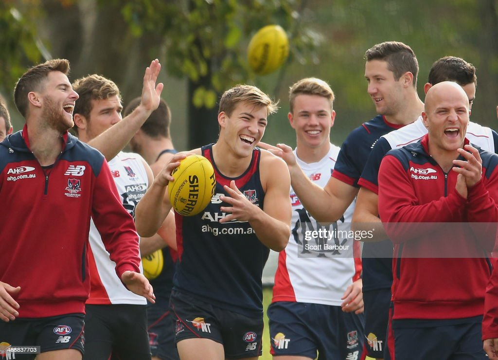 Jack Viney James Frawley and Nathan Jones of the Demons laugh during a Melbourne Demons AFL training session at AAMI Park on May 9 2014 in Melbourne...