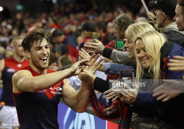 Jack Viney of the Demons celebrates after the Demons defeated the Bulldogs during the round 13 AFL match between the Western Bulldogs and the...