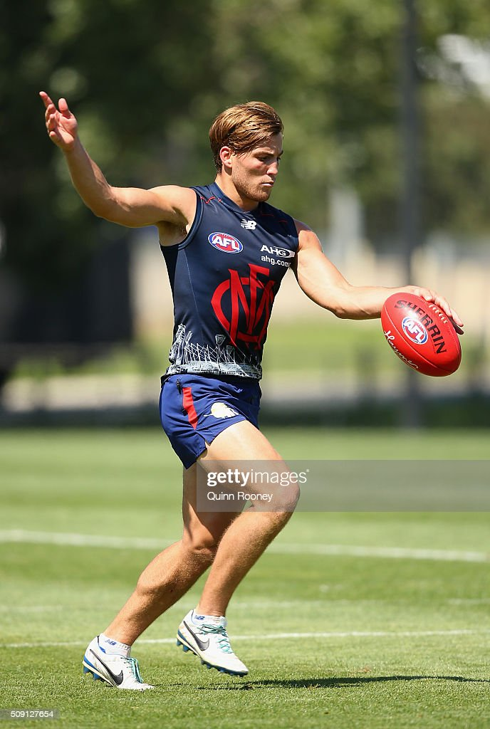 <a gi-track='captionPersonalityLinkClicked' href=/galleries/search?phrase=Jack+Viney&family=editorial&specificpeople=8280691 ng-click='$event.stopPropagation()'>Jack Viney</a> of the Demons kicks during a Melbourne Demons AFL pre-season training session at Gosch's Paddock on February 9, 2016 in Melbourne, Australia.