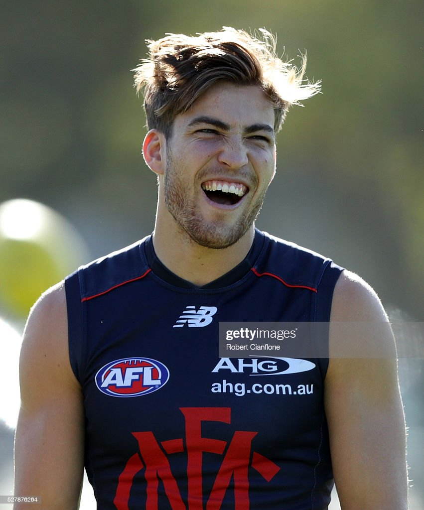 <a gi-track='captionPersonalityLinkClicked' href=/galleries/search?phrase=Jack+Viney&family=editorial&specificpeople=8280691 ng-click='$event.stopPropagation()'>Jack Viney</a> of the Demons laughs during a Melbourne Demons AFL training session at Goschs Paddock on May 4, 2016 in Melbourne, Australia.