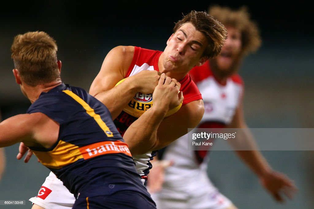 Jack Viney of the Demons marks the ball during the JLT Community Series AFL match between the West Coast Eagles and the Melbourne Demons at Domain Stadium on March 9, 2017 in Perth, Australia.