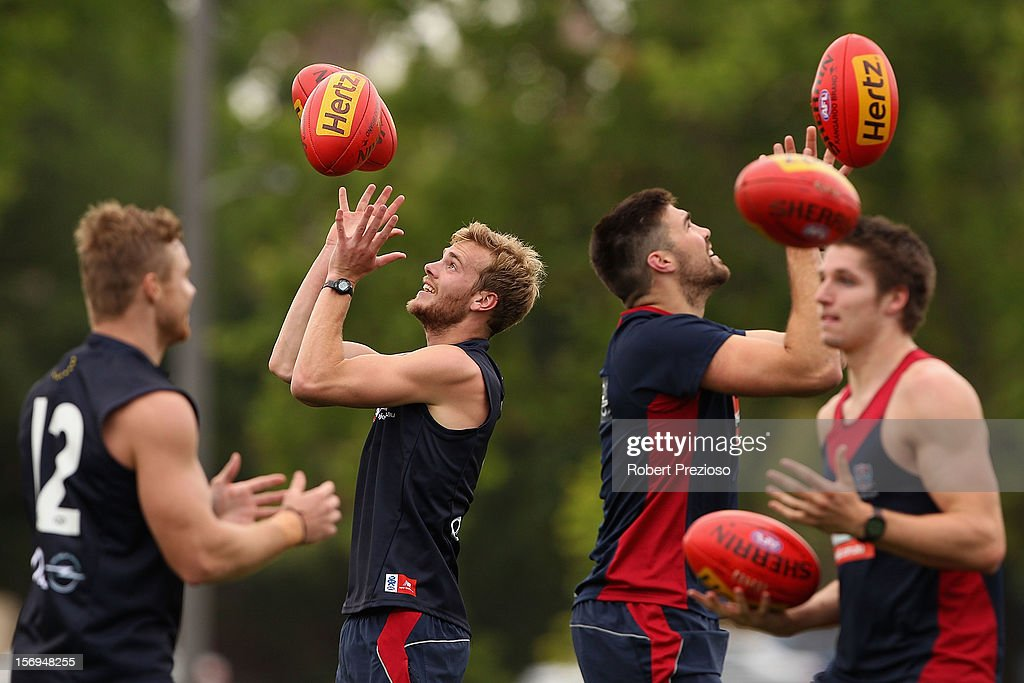 Jack Watts gathers the ball during a Melbourne Demons AFL pre-season training session at Gosch's Paddock on November 26, 2012 in Melbourne, Australia.