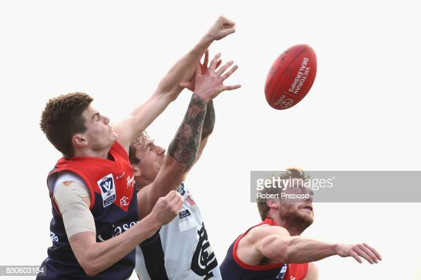 Jack Watts of Casey contests the ball during the round 16 VFL match between Casey and the Northern Blues at Casey Fields on August 12 2017 in...