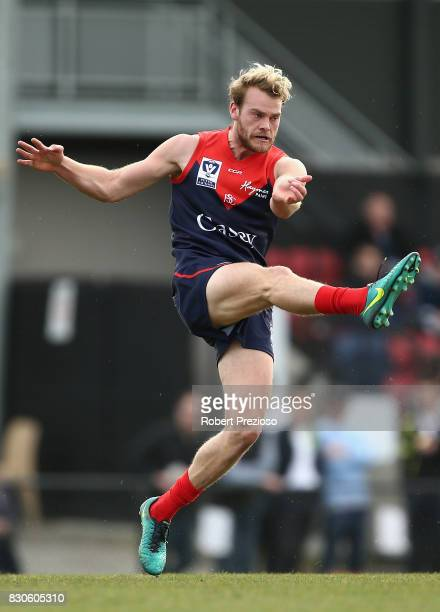 Jack Watts of Casey kicks during the round 16 VFL match between Casey and the Northern Blues at Casey Fields on August 12 2017 in Melbourne Australia