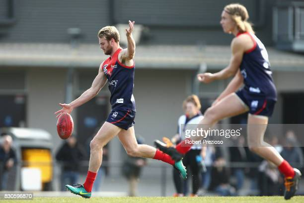 Jack Watts of Casey kicks during warm up prior to the round 16 VFL match between Casey and the Northern Blues at Casey Fields on August 12 2017 in...