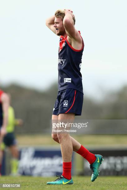 Jack Watts of Casey reacts during the round 16 VFL match between Casey and the Northern Blues at Casey Fields on August 12 2017 in Melbourne Australia
