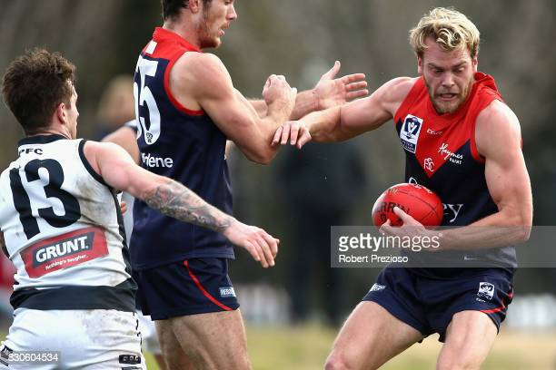 Jack Watts of Casey runs during the round 16 VFL match between Casey and the Northern Blues at Casey Fields on August 12 2017 in Melbourne Australia