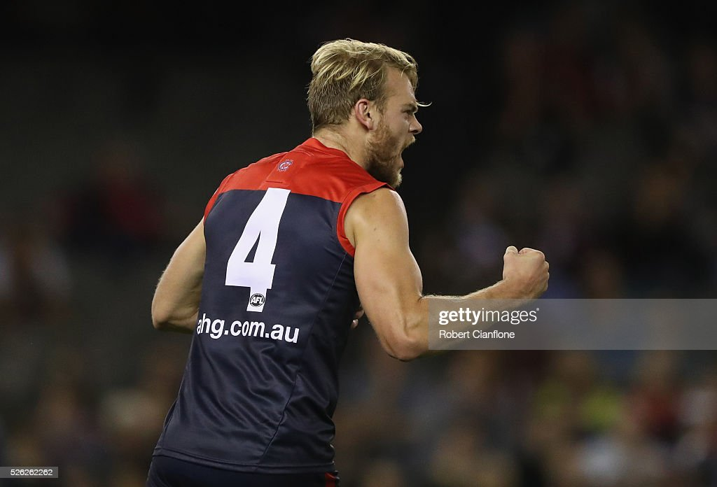 Jack Watts of the Demons celebrates a goal during the round six AFL match between the Melbourne Demons and the St Kilda Saints at Etihad Stadium on April 30, 2016 in Melbourne, Australia.
