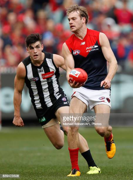 Jack Watts of the Demons in action during the 2017 AFL round 23 match between the Collingwood Magpies and the Melbourne Demons at the Melbourne...