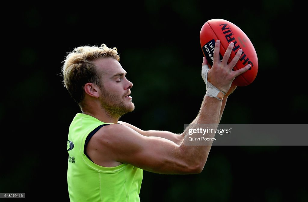 Jack Watts of the Demons marks during a Melbourne Demons AFL training session at Gosch's Paddock on February 21, 2017 in Melbourne, Australia.