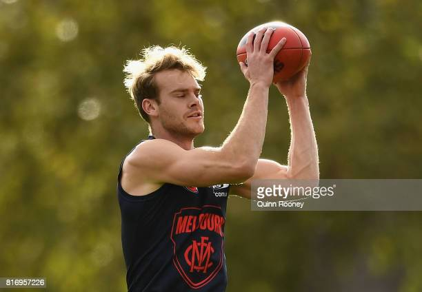 Jack Watts of the Demons marks during a Melbourne Demons AFL training session at Gosch's Paddock on July 18 2017 in Melbourne Australia