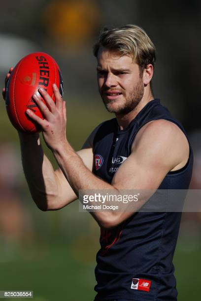 Jack Watts of the Demons marks the ball during a Melbourne Demons AFL training session at Gosch's Paddock on August 1 2017 in Melbourne Australia