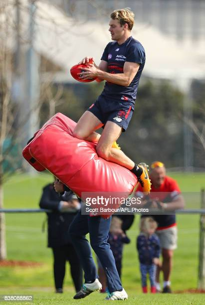 Jack Watts of the Demons marks the ball during a Melbourne Demons AFL training session at Gosch's Paddock on August 24 2017 in Melbourne Australia
