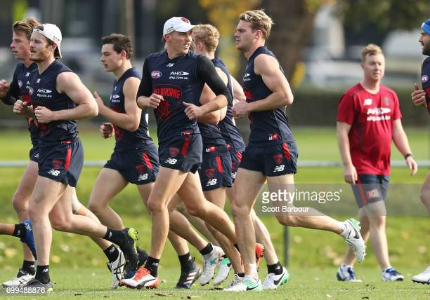 Jack Watts of the Demons runs during a Melbourne Demons AFL training session at Gosch's Paddock on June 22 2017 in Melbourne Australia
