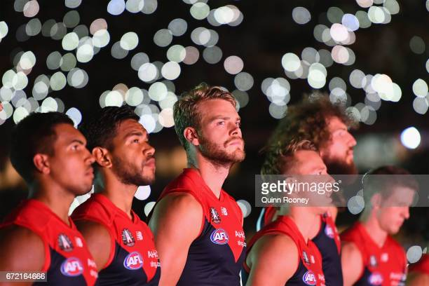 Jack Watts of the Demons stand for the last post during the round five AFL match between the Richmond Tigers and the Melbourne Demons at Melbourne...