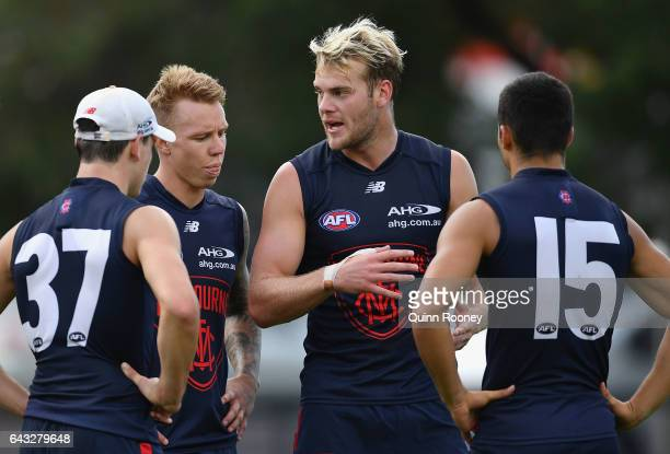 Jack Watts of the Demons talks to his team mates during a Melbourne Demons AFL training session at Gosch's Paddock on February 21 2017 in Melbourne...