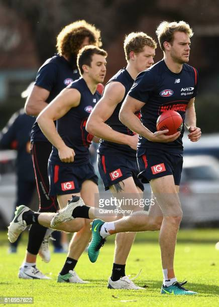 Jack Watts of the Demons trains with his team mates during a Melbourne Demons AFL training session at Gosch's Paddock on July 18 2017 in Melbourne...
