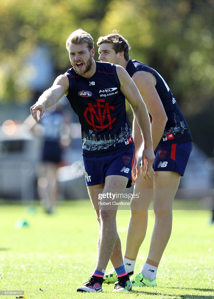Jack Watts of the Demons warms up during a Melbourne Demons AFL training session at Goschs Paddock on May 4, 2016 in Melbourne, Australia.