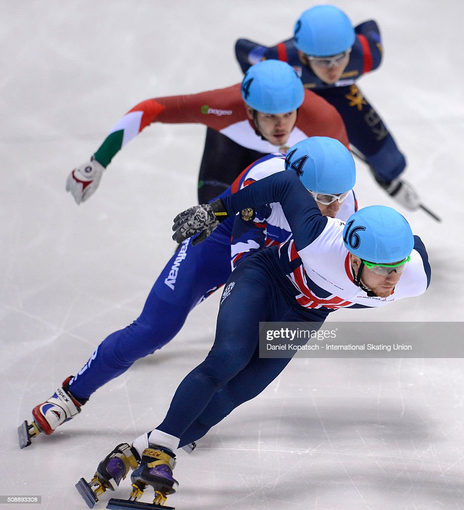 Jack Whelbourne of Great Britain leads the Men 500 M Quarterfinal during day two of the ISU World Cup Short Track Speed Skating at EnergieVerbund Arena on February 7, 2016 in Dresden, Germany.